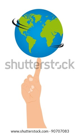 hand with one finger holding planet. vector illustration
