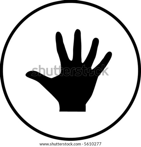 hand with palm extended or number five symbol - stock vector