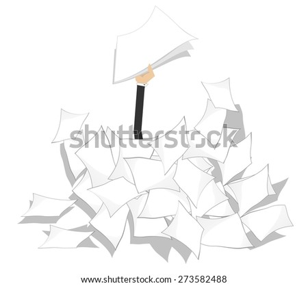 Hand with papers arises from the pile of documents  - stock vector