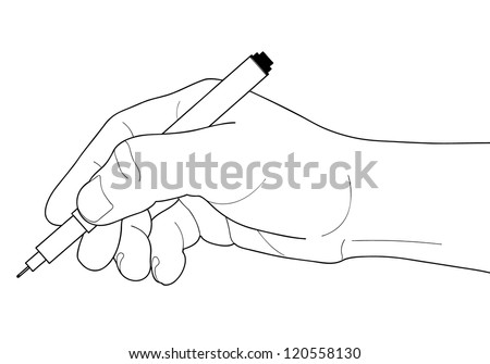 Hand with pen over paper isolated on white background