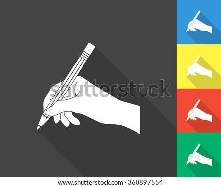hand with pencil icon - gray and colored (blue, yellow, red, green) vector illustration with long shadow - stock vector