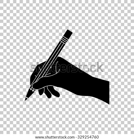 hand with pencil vector icon - black illustration - stock vector