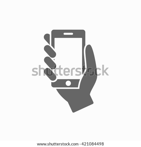 Hand with phone web flat icon. Hand with phone isolated on background. Hand with phone closeup - stock vector