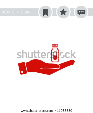 Hand with pills Icon.  - stock vector