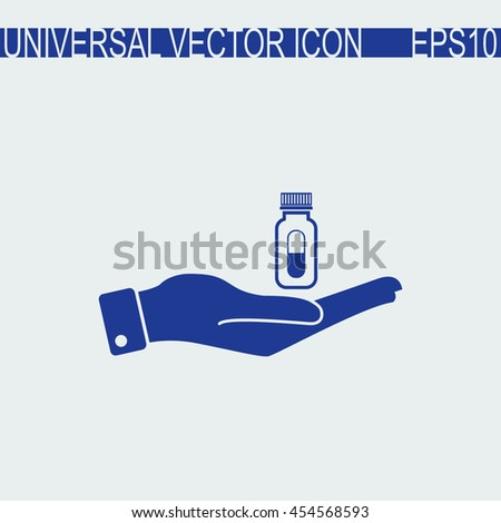 Hand with pills vector icon.