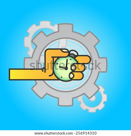 Hand with pocket watch, gear, vector background - stock vector
