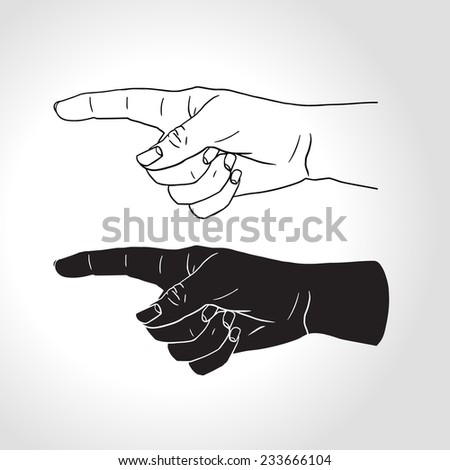 Hand with pointing finger (Vector illustration), Pointing fingers, hand drawn hands isolated on white background, silhouette of pointing finger hand