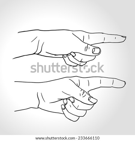 Hand with pointing finger (Vector illustration), Pointing fingers, hand drawn hands isolated on white background, two different variants