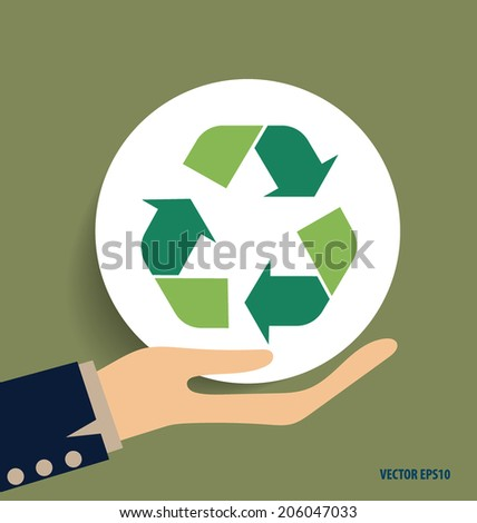 Hand with Recycle symbol. Vector symbol on the packaging, vector Illustration.
