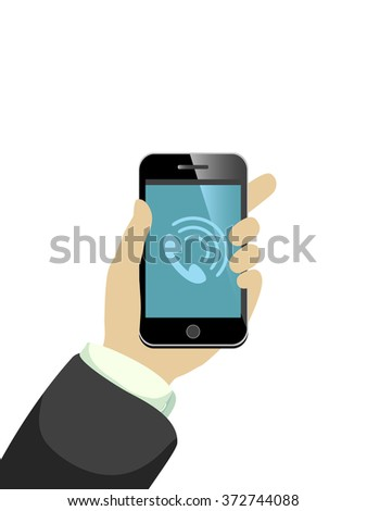 hand with ringing mobile phone