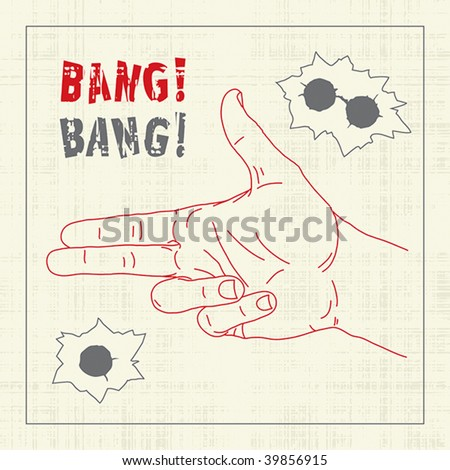 Hand with shooting gesticulation and bullet holes - stock vector