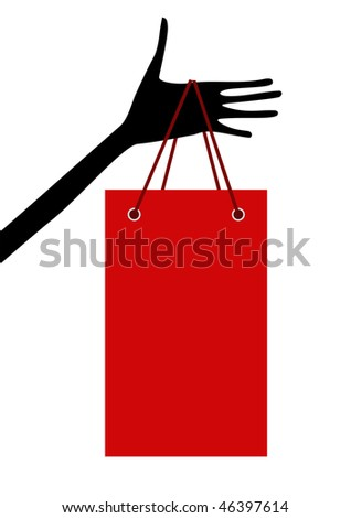 Hand with shopping bag - stock vector