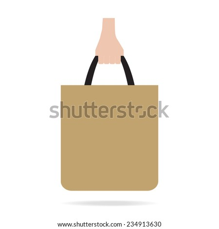Hand with shopping bag.  Flat design.Vector EPS 10 - stock vector