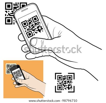 Hand with smart phone taking QR code - stock vector