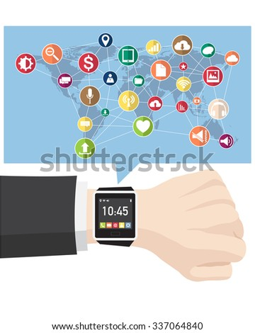 Hand with smart watch interface for technology and business concept, Vector Illustration EPS 10.