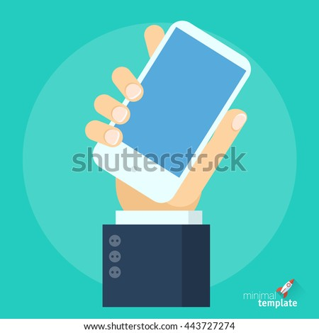 Hand with smartphone flat design vector icon. Hand holding white slim smartphone with blank screen, vector icon mock up for flat vector design application interface, business presentation, web design