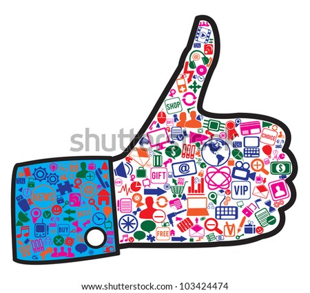 hand with social media icons - vector illustration - stock vector
