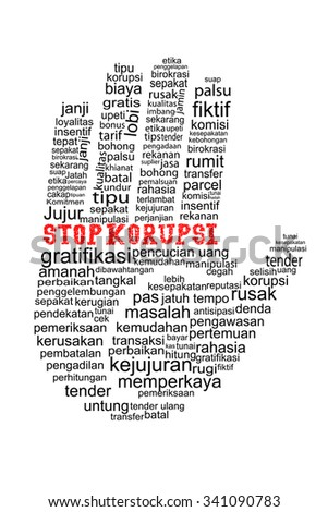 Hand with Stop Corruption text in indonesia language