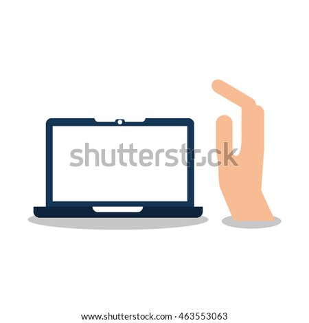 hand with tablet device icon, vector illustration