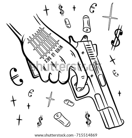 dope coloring pages - hand tattoo holding gun dope tshirt stock vector 715514869