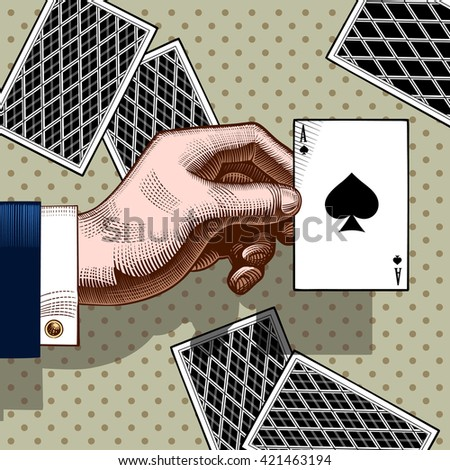 Hand with the ace of Spades playing card. Vintage color engraving stylized drawing. Vector illustration  - stock vector