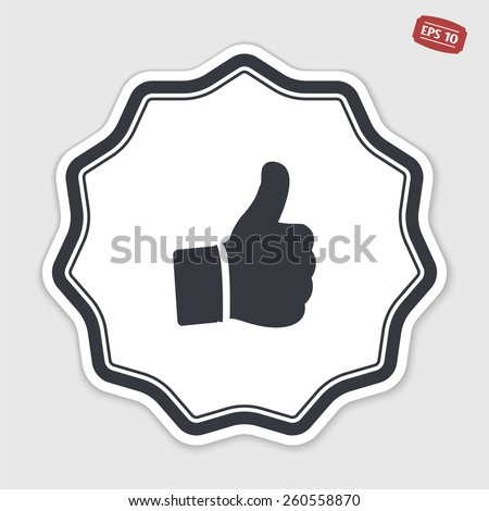 Hand with thumb up icon. Flat design style. Made vector illustration. Emblem or label with shadow.