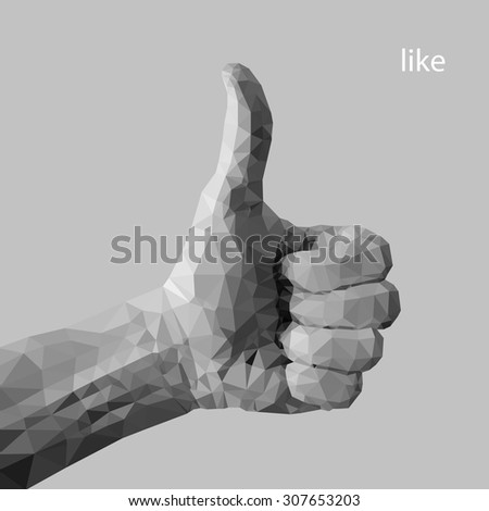 Hand with thumb up - sign by man hand, isolated on white background. Hand - sign from man hand (illustration of a many triangles)