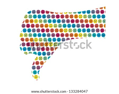 Hand with thumbs down decorated with unhappy, displeased smileys in bright color scheme