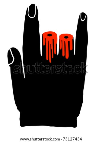 Hand with two cut fingers, heavy metal symbol