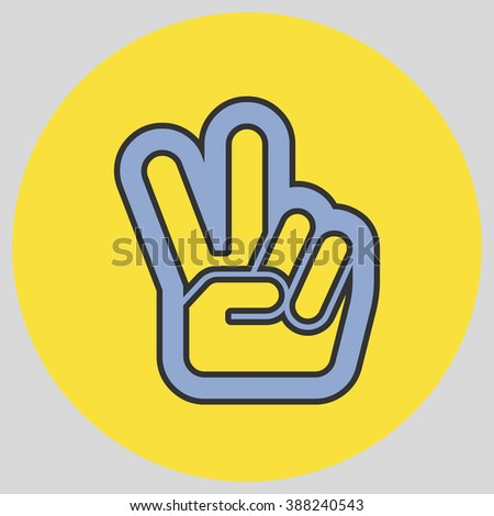 Hand Two Fingers Peace Victory Symbol Stock Vector 388240543