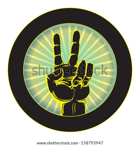 Hand with victory sign, vector ilustration