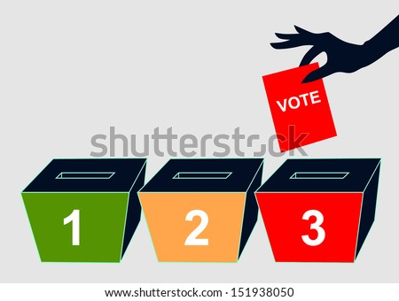 Hand with voting ballot and box on vector  - stock vector