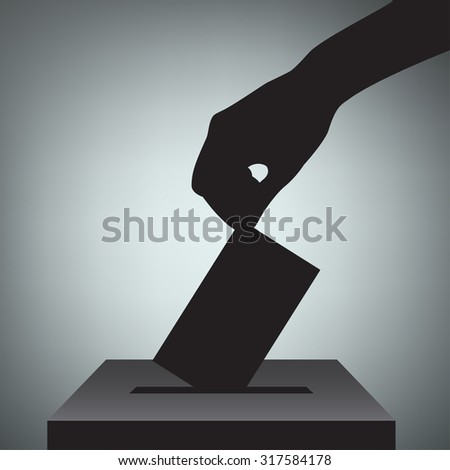 Hand with voting ballot and box. Vector Illustration - stock vector