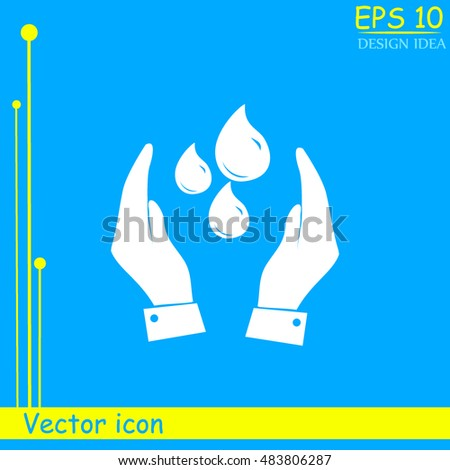 Hand with water icon