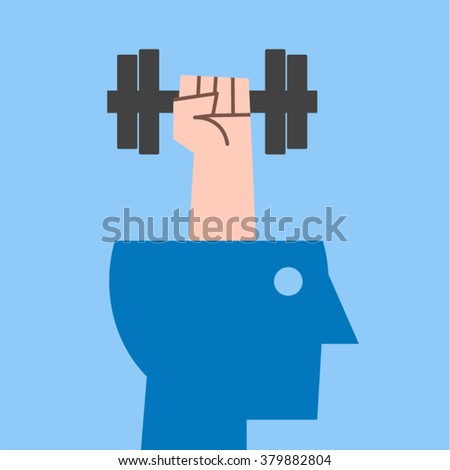 Hand with weight, barbell emerging from head. Thinking Intelligence Motivation Creativity Knowledge Aptitude Ability Brainstorm Expertise Skills Concept Vector Design - stock vector
