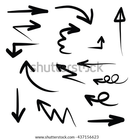 Hand written arrow stock photos