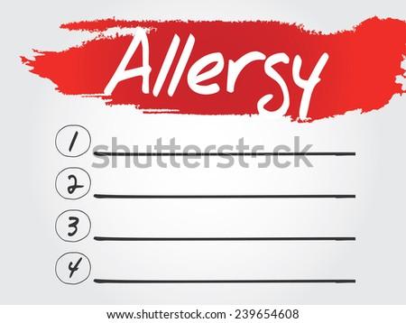 Hand writing Allergy Blank List, vector concept background - stock vector