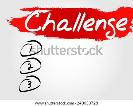 Hand writing Challenge Blank List, vector business concept background - stock vector