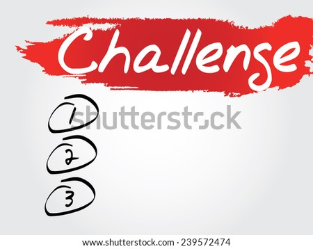 Hand writing Challenge Blank List, vector concept background - stock vector