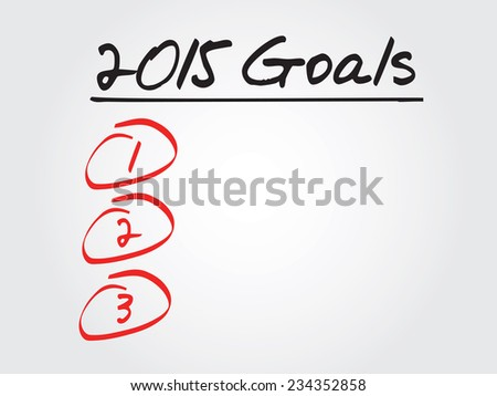 Hand writing 2015 Goals List, vector concept background - stock vector