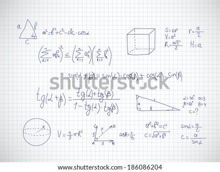 Hand writing mathematics formula. Vector illustration - stock vector