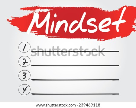 Hand writing Mindset Blank List, vector concept background - stock vector