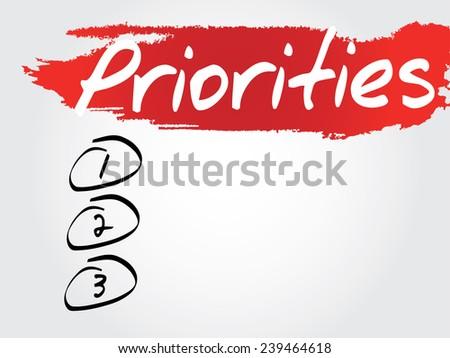 Hand writing Priorities Blank List, vector concept background - stock vector
