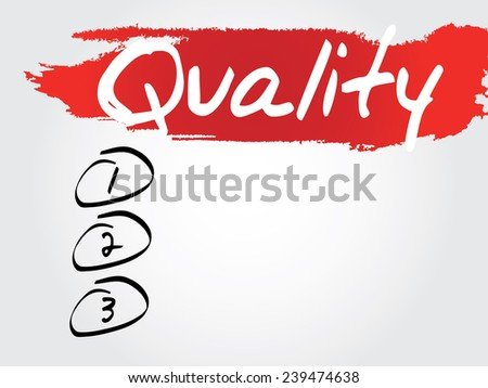 Hand writing Quality Blank List, vector concept background - stock vector