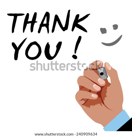 Hand writing Thank you with black marker on a white board - stock vector