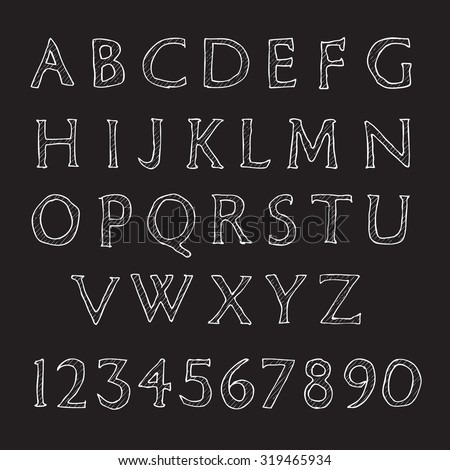 Hand written alphabet. Hipster letters and numbers, white on black.