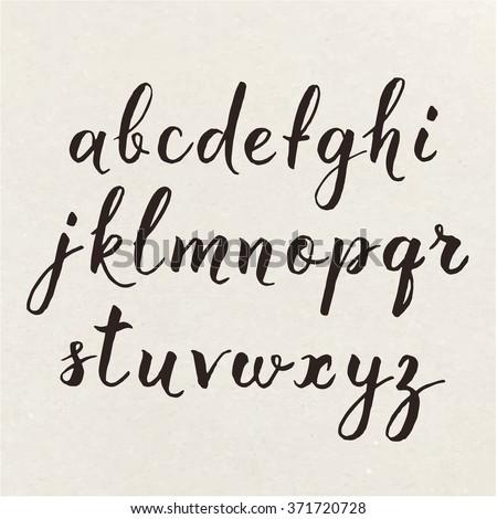 Hand written calligraphic alphabet. Cool calligraphic poster. The alphabet written with calligraphy pen.  - stock vector