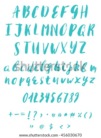 Hand Written Calligraphy Alphabet Blue Colors Brush Script Font In Vector Format