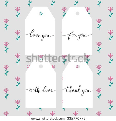 Hand written calligraphy style short messages set. Lettering thank you, love you, with love, for you. Design elements for postcard or poster typography. - stock vector
