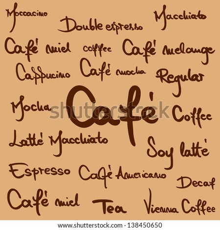 Hand written coffee names for menus, blackboards and advertisements - stock vector